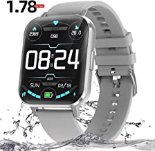 """Fitness Tracker Smart Watch - 1.78"""" Full Touch Screen Waterpoof Smart Watches for Men Women for Android iOS Phones, Heart Rate Activity Tracker with Blood Pressure SpO2 Monitor Smart Bracelet"""