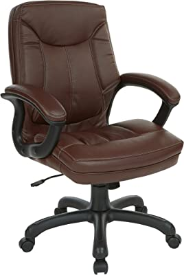Office Star Bonded Leather Seat and Mid Back Executive's Chair with Padded Arms and Contrast Stitching, Chocolate