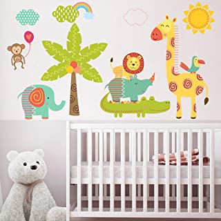 Cute Kids Wall Stickers TYHON Cartoon Zoo Wall Murals Wallpaper Decals Home Room Decorations Removable Vinyl Nursery Décors for Baby Toddlers Bedroom