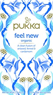Pukka Herbs Feel New, Organic Herbal Tea with Aniseed, Fennel & Cardamom, 20 Tea Bags(Pack of 1)