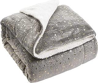 Bedsure Metallic Sherpa Fleece Blanket Twin Size Grey Plush Throw Blanket Fuzzy Soft Blanket Microfiber