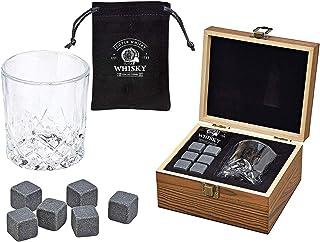 WOMA 6 Whisky Steine mit Whiskey Glas & Holz Geschenkbox - Whiskey Steine Geschenkset aus natürlichem Basalt - Eiswürfel Wiederverwendbar