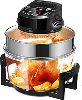 Maxkon Air Fryer with 17L Extra Large Capacity, 1300W Oil-Less Halogen Oven Cooker with LED Screen, Healthy Infrared Conve...