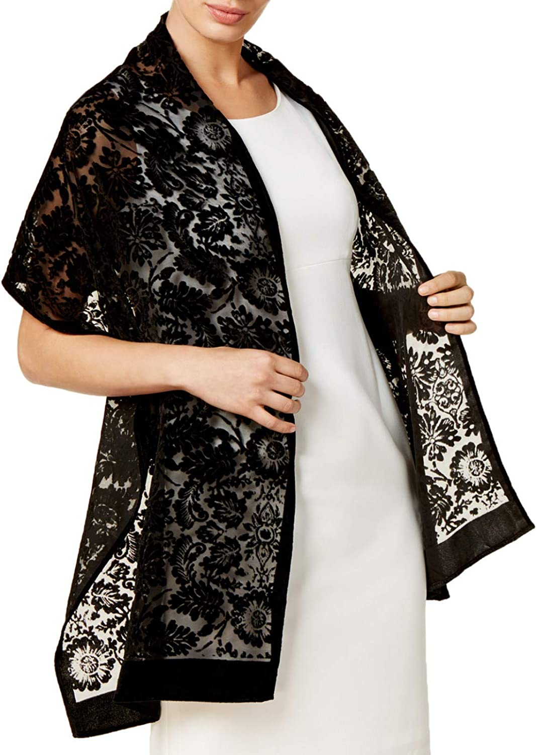 INC International Concepts Women's Black Floral Medallion Wrap Scarf