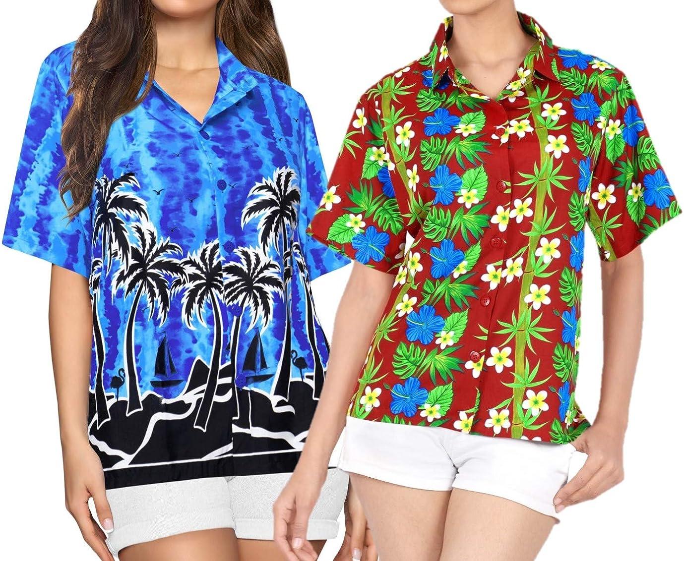 LA LEELA Women's High order Popular overseas Hawaiian Blouse S Nightwear Shirt Sleeves Short