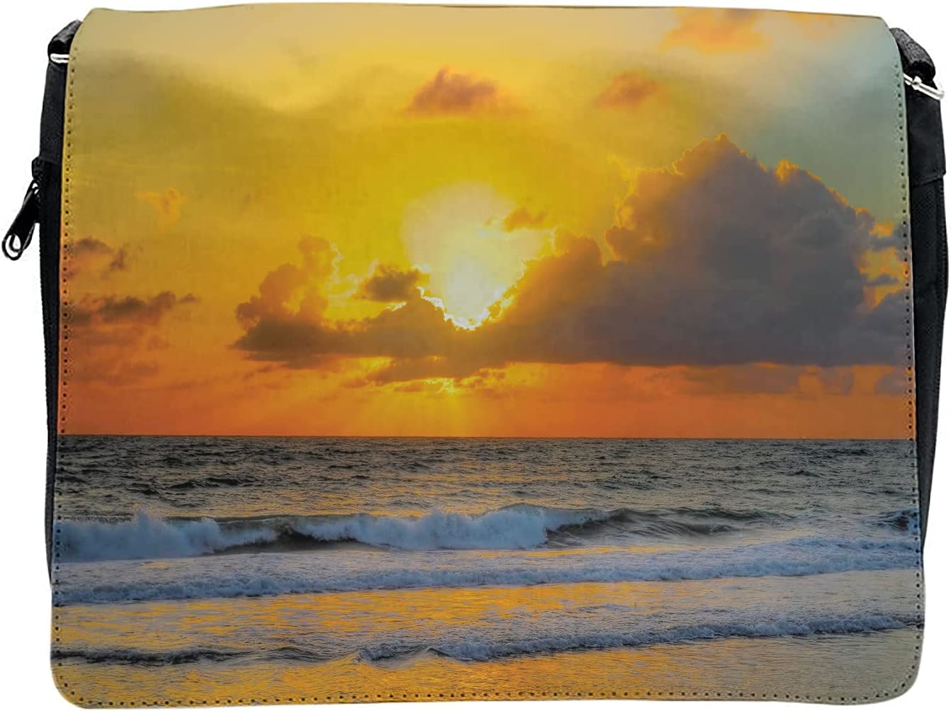 Ambesonne Sea Cross Body Messenger Bag, Sunset Beach in Brazil City, Unisex