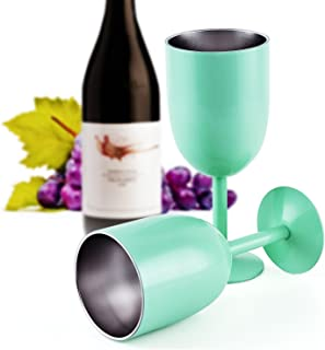 Stainless Steel Wine Glasses, COTOP 10oz 400ml Vacuum 304 Stainless Steel Cocktail Glass Wine Goblet Glass Great for Daily...