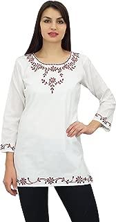 Phagun Women's Cotton Round Neck Embroidered Ladies Tunic Blouse Top
