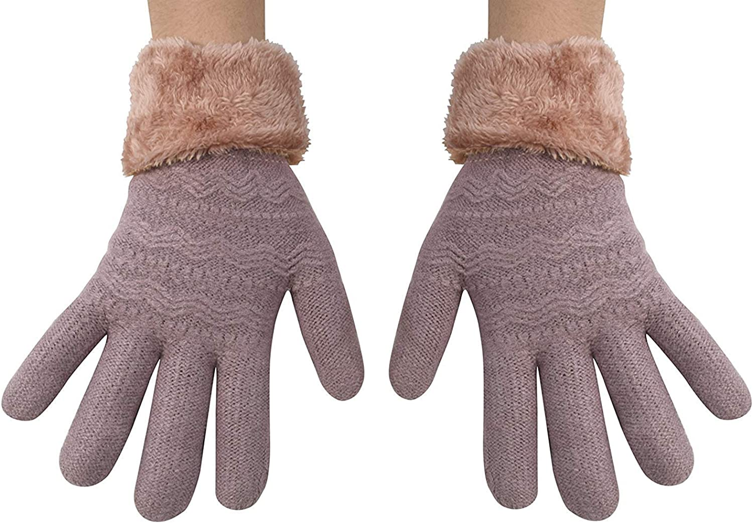 Peach Couture Classic Cable Knit Plush Fleece Lined Double Layer Winter Gloves (One Size, Mauve 05)