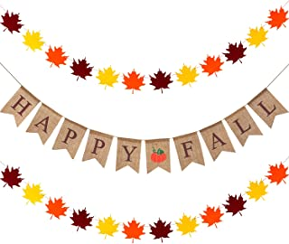 Happy Fall Pumpkin Burlap Banner with 2 Pieces Maple Leaves Garland Banner for Thanksgiving Fall Party Decorations
