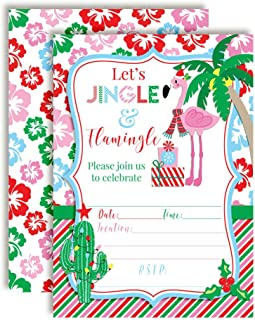 Winter Tropical Flamingo Themed Holiday Christmas Birthday Party Invitations, 20 5