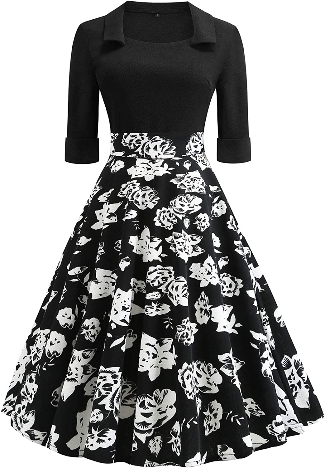 Women's Vintage Patchwork Pockets Half Sleeve Puffy Swing Casual Party Dress 2472