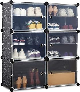 Meerveil Armoire à Chaussures, Meuble Chaussures, Étagère à Chaussures avec 6 Cubes, Rangement Chaussures à Emboîtement, A...