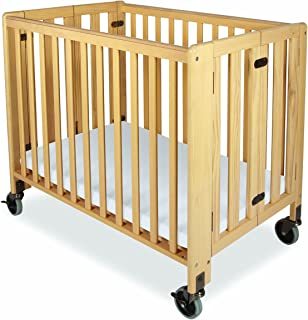 Foundations Hideaway Compact Sized Folding Crib, Natural