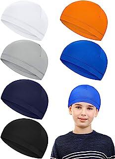 Geyoga 6 قطع طفل الجمجمة كاب امتصاص العرق كاب الجري القبعات الحليب الحرير خوذة بطانة الجمجمة قبعات للأولاد الشباب الأطفال