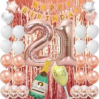 Rose Gold 21st Birthday Decorations-21 Birthday Party Supplies Rose Gold 21st Birthday Gifts for Her
