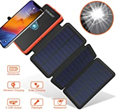 Solar Power Bank Wireless Solar Charger 20000mAh,POWOBEST Waterproof Portable External Battery with 3 Foldable Solar Panels,Flashlight,IPX5,Dual 5V/2.1A USB Ports,for Smartphones, Tables etc (Orange)