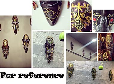 Painted African Mask Wall Hanging Décor Handcrafted Tiki Wall Mask