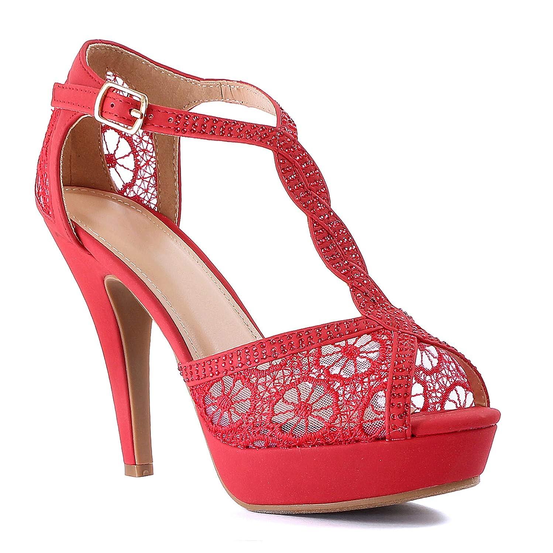 Guilty Shoes Womens Open Toe Crochet Lace Stiletto Peep Toe Pump High Heel Platform Sandals