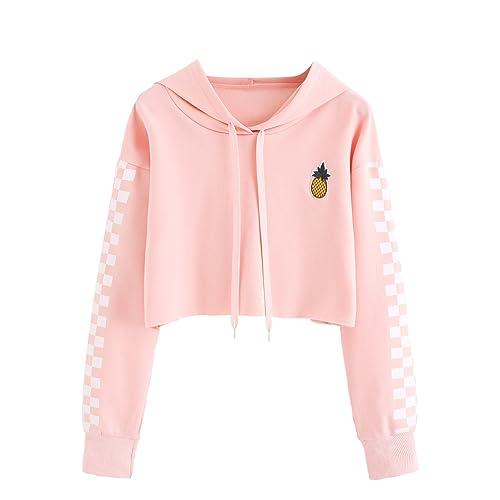 5d12808c277 MAKEMECHIC Women's Pineapple Embroidered Hoodie Plaid Crop Top Sweatshirt