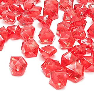 Red Fake Crushed Ice Rocks, 150 PCS Fake Diamonds Plastic Ice Cubes Acrylic Clear Ice Rock Diamond Crystals Fake Ice Cubes Gems for Home Decoration Wedding Display Vase Fillers by DomeStar