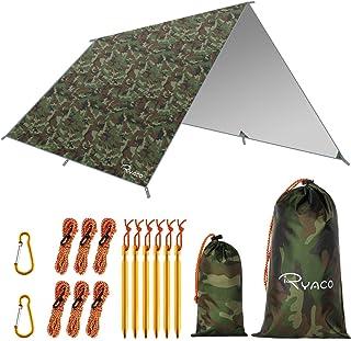 Ryaco Regnskydd för hängmatta, tält etc., presenning i 3 m x 3 m, bärbart solskydd, lätt, vattentätt och vindtätt markskyd...