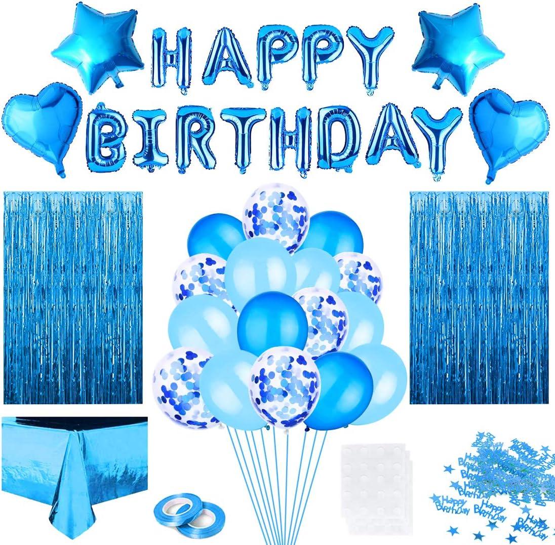 Decoración de Fiesta de Cumpleaños en Azules, Feliz Cumpleaños Guirnalda Globos de Confeti, Mantel de Azul Cortina Oropel, para Mujer Hombre Niño Fiesta de Niña Decoración de Cumpleaños