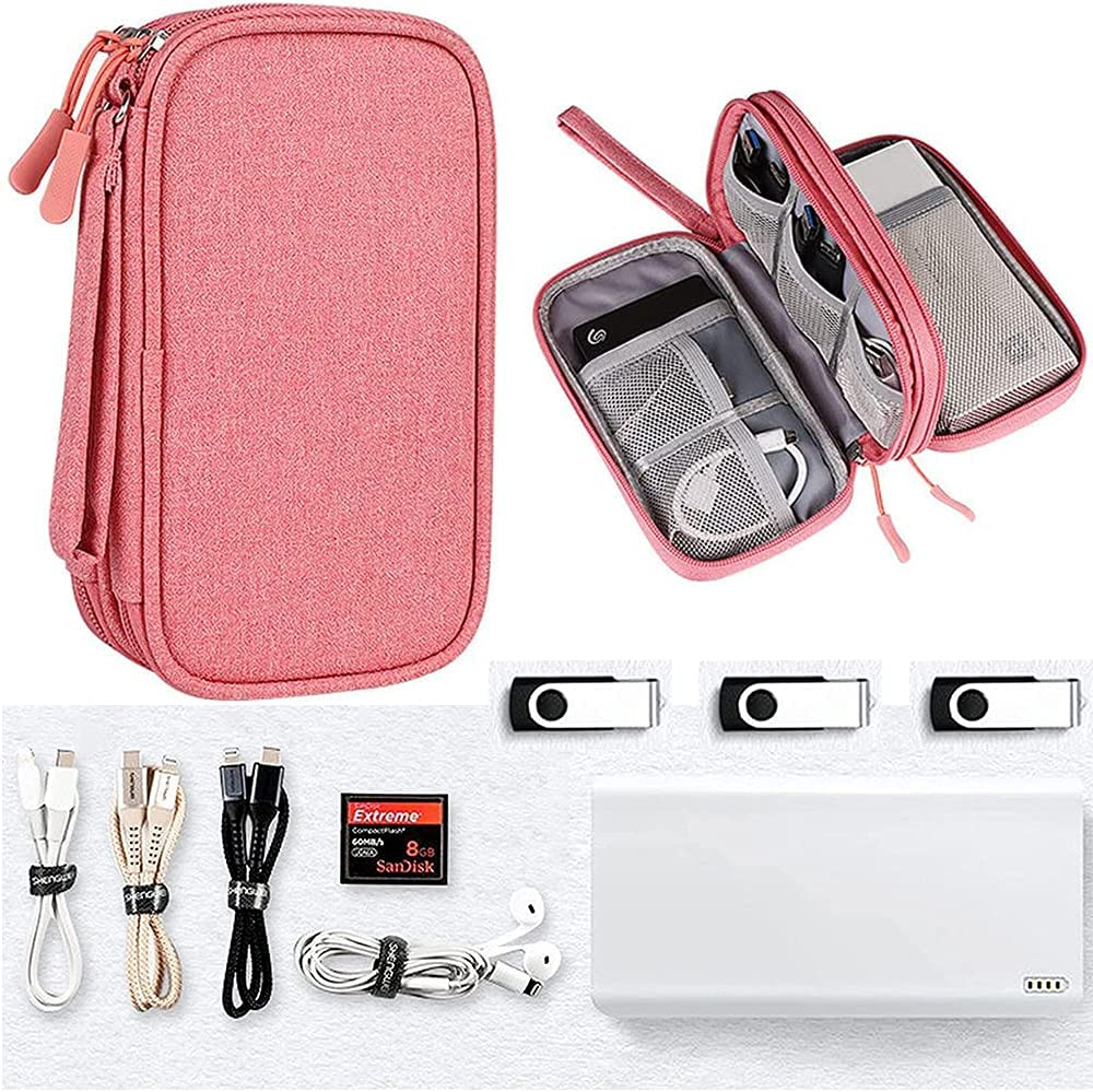 Electronics Accessories Case, Universal Electronics Accessories Organizer Pouch Bag, Waterproof Portable Cable Organizer Bag, Travel Gear Carry Bag for Cord, Charger, Flash Drive, Phone,SD Card,Pink