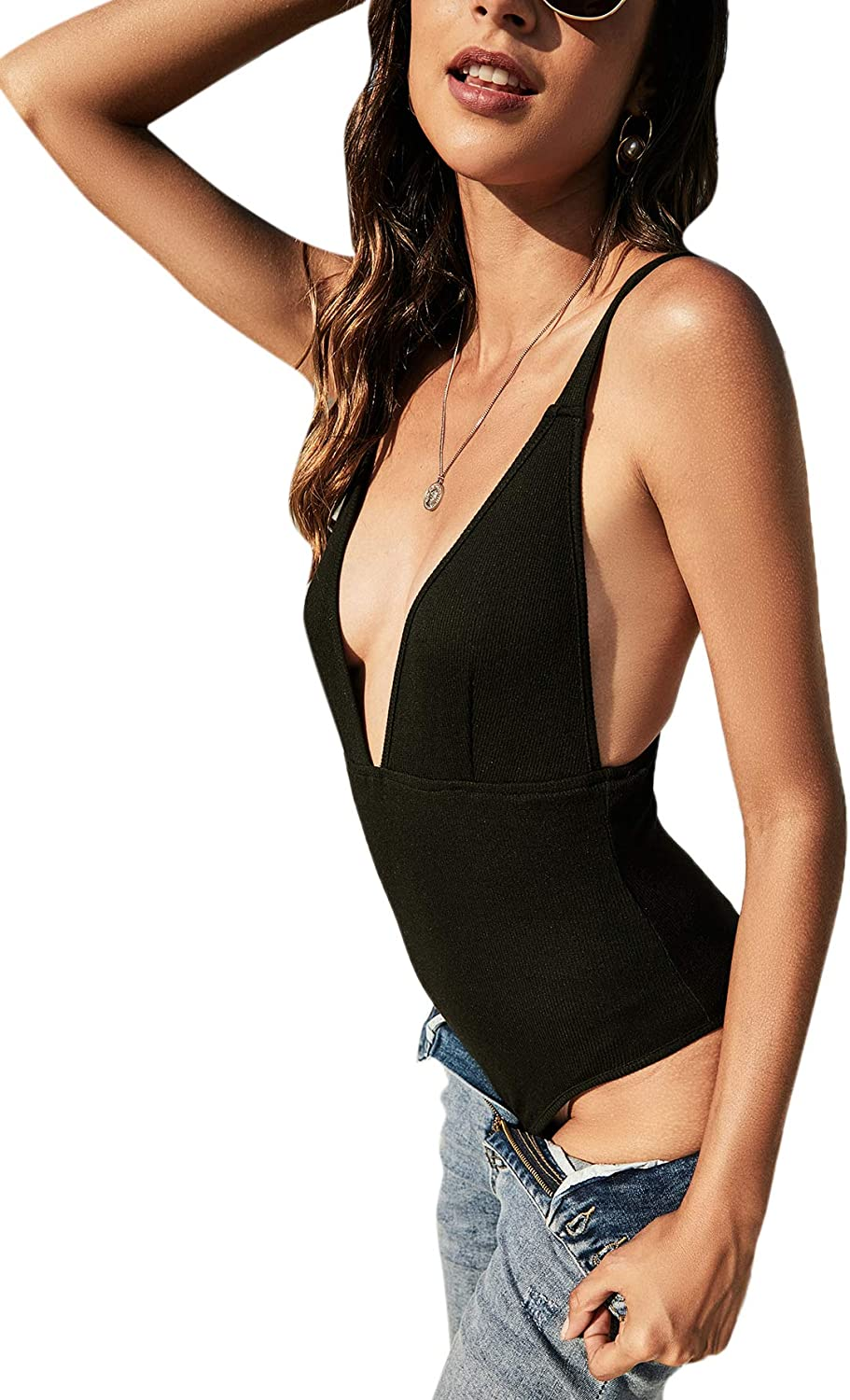 Floerns Women's Casual Solid Backless Deep V Neck Rib Knit Cami Bodysuit Tops