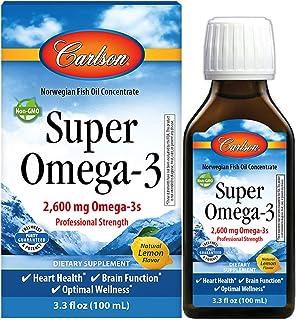 Carlson - Super Omega-3, 2600 mg Omega-3s, Omega-3 Liquid, Wild Caught Omega-3 Fish Oil Liquid Supplement, Omega-3 Supplem...