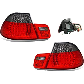 SPPC Convertible L.E.D Taillights Set Red/Smoke 4 pieces Assembly Set For BMW 3 Series E46 - (Pair) Driver Left and Passenger Right Side Replacement