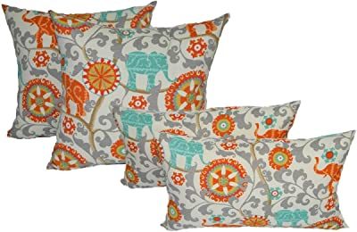 Set Of 4 Indoor Outdoor Pillows 17 Square Throw Pillows Rectangle Lumbar Decorative Throw Pillows Orange Turquoise Teal Gray Bohemian Elephant Menagerie Cayenne Fabric Kitchen Dining