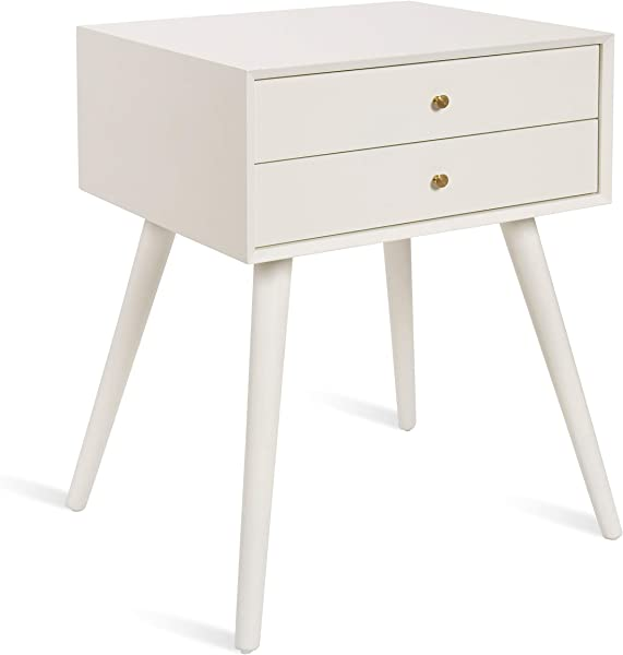 Kate And Laurel Finco Midcentury Modern Style Side Table With 2 Drawers White Finish With Brass Hardware