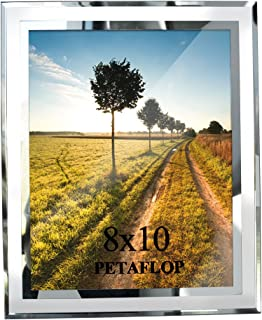 PETAFLOP 8x10 Picture Frames Real Glass for Photo Display Stand on Tabletop Only