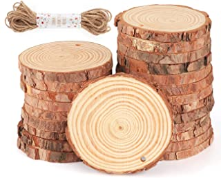 Wood Slices Ornaments 30Pcs 3.1''-3.5'' Unfinished Wood Rounds with Pre-drilled Hole for Christmas Rustic Crafts Wedding Decoration, 33 Feet Jute Twine