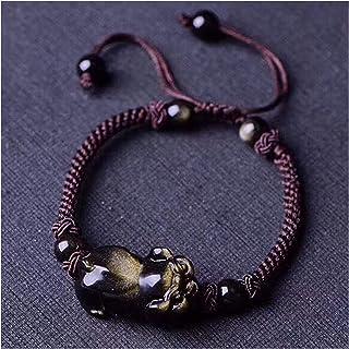 手織紐の天然ゴールデンオスディイアンフォーポンブレスブレスレットFENG Shui富の魔法使いブレスレッキ癒しのための癒しのための中国の贈り物を引き付ける良い幸運のためのお金を引き付ける AnimeFiG