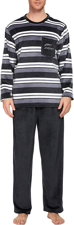 U2SKIIN Womens Fleece Pajama Sets, Striped Pajamas for Women Soft Sleepwea