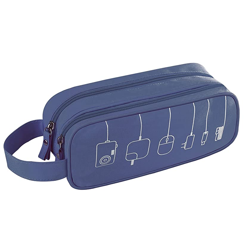 Universal Cable Cord Holder Organizer/Electronics Accessories Case Healthcare & Grooming Kit USB Drive Shuttle-an All in One Travel Organizer (Blue)