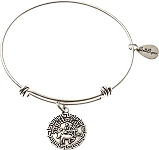 BellaRyann Sagittarius Zodiac Expandable Bangle Charm Bracelet in Vintage Silver