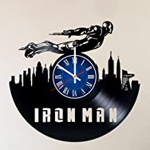 MY GIFT STORE IRON MAN 12 INCH/30 CM VINYL RECORD WALL CLOCK MARVEL UNIVERSE INFINITY WAR AVENGERS GIFT FOR BOYS - Gift idea for children, teens, adults