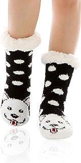 WOTENCE, Mujer gruesos cachemira lana calcetines de piso, casa abrigados calcetines, antideslizantes cómodos cálidos lindos animales calcetines borrosos regalo de Navidad zapatillas calcetines