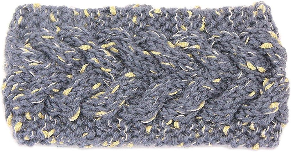 YSJOY Womens Gold Wire Cable Knitted Winter Headband Ear Warmer Head Wrap