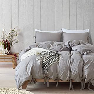 Fire Kirin Luxury Duvet Cover Set Queen, Soft Solid Color Microfiber Washed Cotton Duvet Cover with Solid Bowknot Ties Design 3 Piece Bedding Set (Grey, Queen)