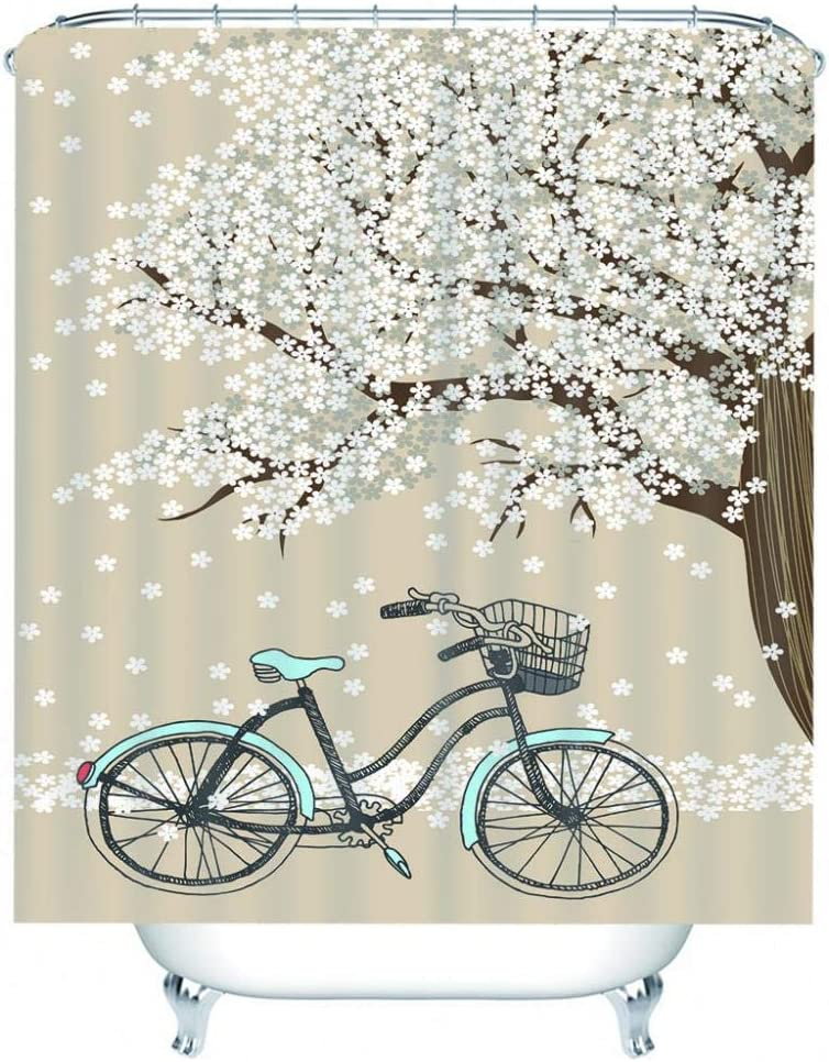 DJOKBW Shower Curtain Cheap mail order New Orleans Mall shopping 3D Pattern Bicycle Big White Tree Flowers
