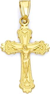 14k Solid Real Gold Crucifix Pendant with Diamond Cut, Religious Jesus Piece Cross Dainty Gift for Religious Occasions or Gifts for Her