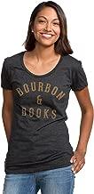 Headline Shirts Bourbon & Books Funny Graphic Screen Printed Crewneck T-Shirt for Women