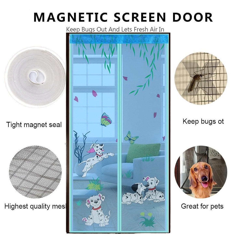 ゆり経営者望むDULPLAY 3 d フレーム velcro 網戸 マグネット式,メッシュ カーテン,魔法のドアのメッシュ 通気性 シール Diy 調節可能なウィンドウの画面 - 90x220cm(35x87inch)