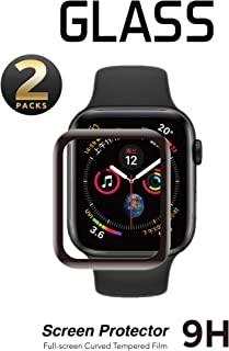 SNSIR Screen Protector 44mm for Apple Watch Series 5/4 [2 Pack] [Tempered Glass] Full Coverage Protective Foil 9H (44mm)