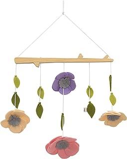 ED Ellen DeGeneres Painterly Floral - Nursery Ceiling Mobile with Natural Wood Arm, Pink, Cream, Lilac Felt Flowers & Sage Leaves, Lavender, Pink, Cream, Green