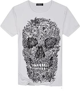 WEUIE Mens Skull Printing Tees Shirt Short Sleeve T-Shirt Blouse Tops